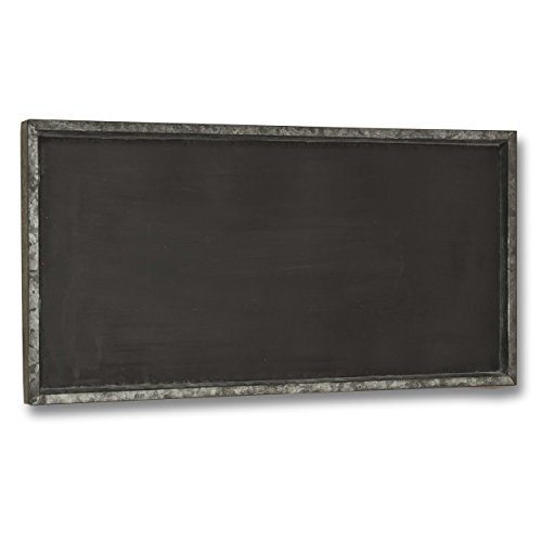 (Rustic Galvanized Zinc Framed Magnetic Wall Chalkboard, Large Size Over 2 1/2 Feet, (15 x 29 1/2 Inches) Vertical or Horizontal Hanging Options, Great for Kitchen, Weddings, Restaurant Menus, and More)