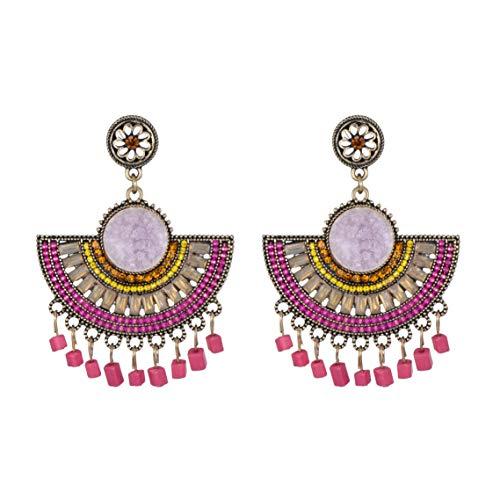 Lavender Stone - Statement Drop Earrings -Carved Stone Flower Openwork Hollow Earring Set White Pink Blue Boho Dangle Tassel CZ Druzy Stud Earrings Gift for Women Girls (Lavender Stone)