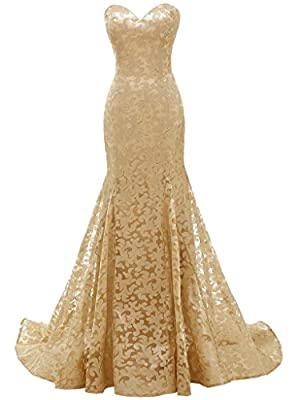 Solovedress Women's Mermaid Sweetheart Lace Evening Dress Bridesmaid Prom Gown