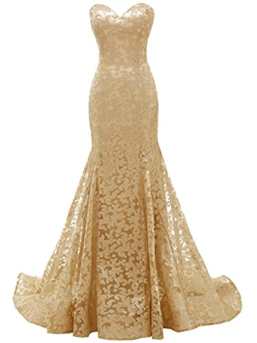 Prom Gown Silhouette Mermaid (SOLOVEDRESS Women's Mermaid Sweetheart Lace Evening Dress Bridesmaid Prom Gown (US 12, Gold))