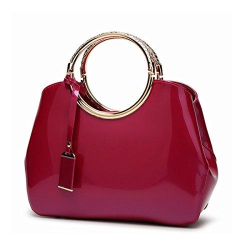 color Bandoulière Sakuldes Bag Cuir À Main Vintage Décontracté Sac Pink Provisions Femme Pour Rose Verni Messenger En rpUpE6qwxP