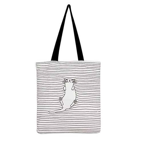 Cute Striped Napping Cat Cotton Canvas Handbags Eco Daily Female Single Shoulder Shopping Tote Women Beach Bags