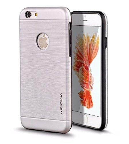 iPhone 6 Case, MOTOMO iPhone 6/6s Case Aluminum [Brushed Aluminum] Metal Cover Protective Case - Work For Magnetic Car Holder - Newest 2017 Case for iPhone 6 color Silver (Glacier (Brushed Aluminum Case)