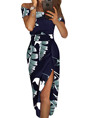 Dearlove Women's Off The Shoulder Leave Print Split Elegant Formal Work Evening Maxi Party Dresses Navy Blue Maternity XL