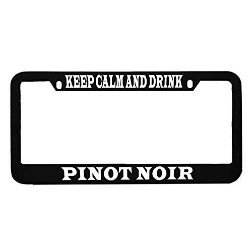 AllCustom4U Keep Calm and Drink Pinot Noir License Plate Frame, Personalized Humor Funny Auto Tag Holder, Funny Car Tag Frame, Novelty Car Tag Holder, Stainless Steel