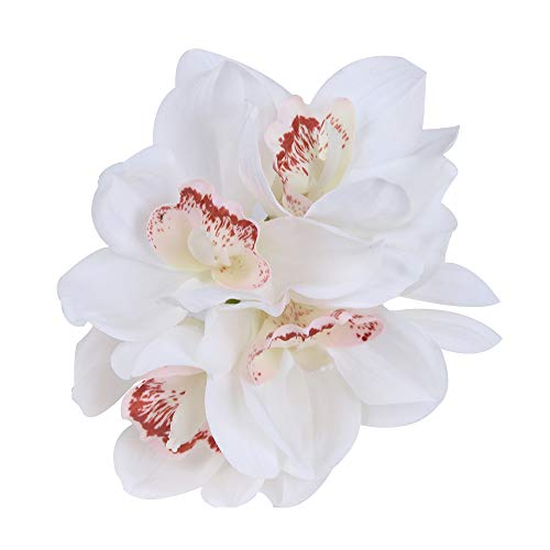 IPOPU Real Touch Cymbidium 6 Heads Short Shoot Table Decoration Flower DIY Wedding Bride Hand Flowers Home Decor Artificial Orchid (White) ()