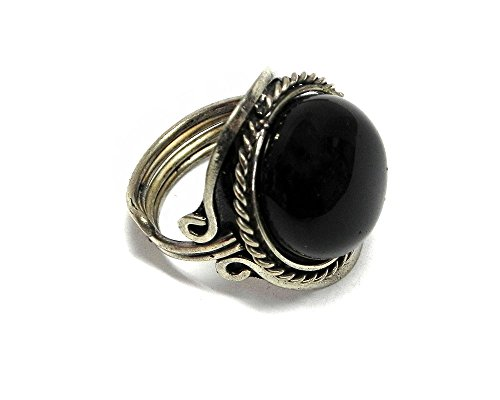 Mia Jewel Shop Natural Semi Precious Round Gemstone Silver Rope Edge Adjustable Ring (Black Onyx)