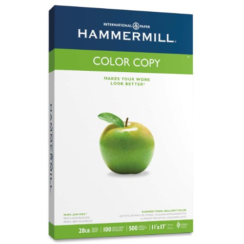 Hammermill Paper, Color Copy Digital, 28lb, 11 x 17, Ledger, 100 Bright,  500 Sheets / 1 ream (102541), Made In The USA