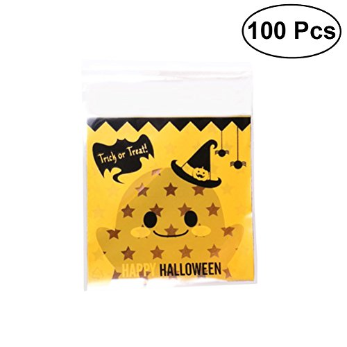 (HEALIFTY 100 Pcs Halloween Pumpkin Cookie Decorating Bags Plastic Candy Bags Self-Adhesive Packaging Bags for Candy Cookie Cake Snacks and Party)