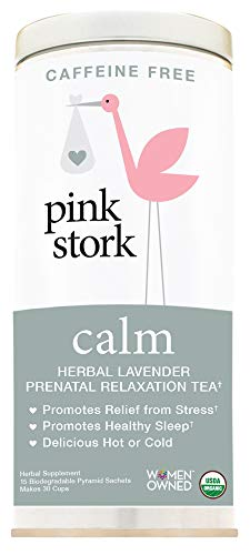 Pink Stork Calm: Herbal Lavender Prenatal Relaxation Tea, USDA Organic Loose Leaf in Biodegradable Sachets -Soothing & Calming -Destress, Support Healthy Sleep -30 Cups, Caffeine-Free