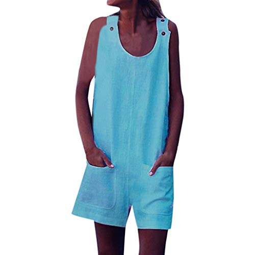 (Shisay Women's Sleeveless Button Mini Shift Tank Top Jumpsuit Rompers with Pocket Dress Green)