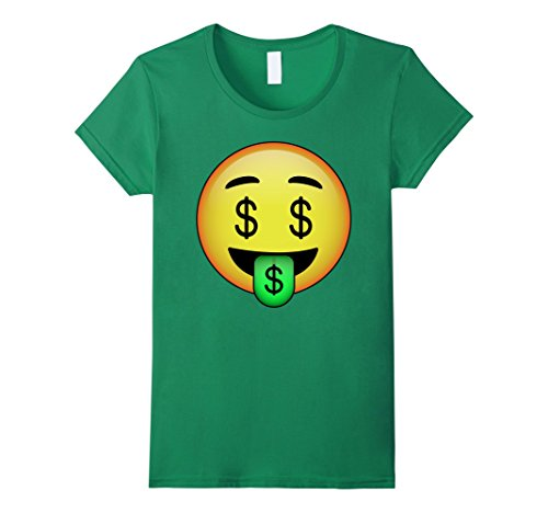 Womens HD Emoji Money Mouth Face Shirt - Dollar Sign Eyes Emoticon Small Kelly Green