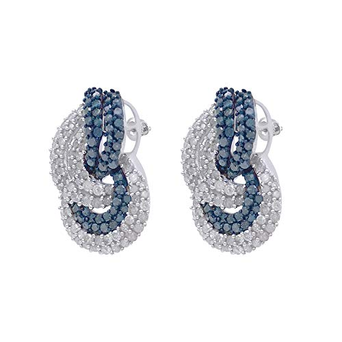 Silver bypass Earrings Natural White Blue Diamond 3.33 Carat for Women ()