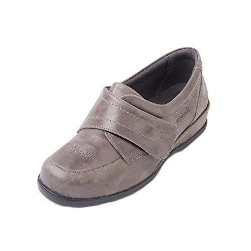 Grey Leather Fit Adjustable 6e Soft Super 4e 'wardale' Extra In Strap Long 3 Touch Wide Width Shoe Sandpiper Women's Upper Fitting Fastening 1 ZqRwF0B