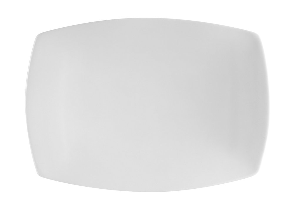CAC China COP-RT51 Coupe 14-1/2-Inch by 9-3/4-Inch Super White Porcelain Rectangular Platter, Box of 12
