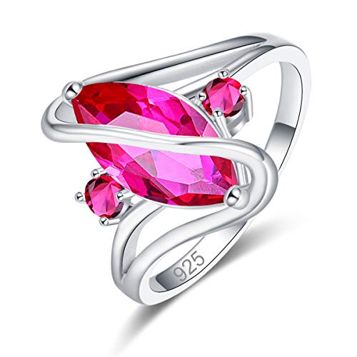 (Psiroy 925 Sterling Silver Created Ruby Spinel Filled Marquise Cut Ring for Women Size 9)