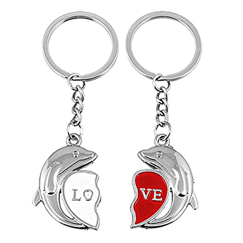 2 Pcs Couple Dolphin Keychain Love Heart Key Chain - Couple Dolphins