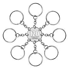 RUBY - 120 Anillas para llavero con cadena, bases de llaveros para artesanía (Plateado, Ø 28mm)