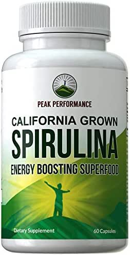 California Grown Spirulina Tablets. Ecologically Grown Algae Superfood Pills. Non GMO Verified, Lab Tested, Non Irradiated, Safe Capsules for Men and Women. Natural Energy Boosting Supplement