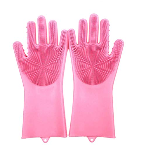Magic Silicone Cleaning Gloves, Reusable Cleaning Brush Heat Resistant Scrubber Gloves for Dish Wash Cleaning Pet Hair Care ()
