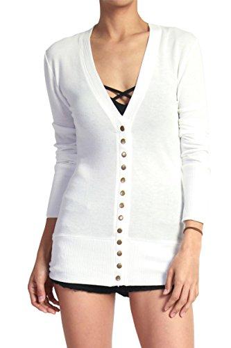 TheMogan Women's Snap Button V-Neck Long Sleeve Knit Cardigan Ivory 2XL