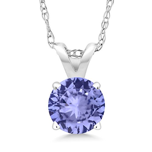 0.90 Ct Round Blue Tanzanite 14K White Gold Pendant With Chain (Pendant 14k Tanzanite)