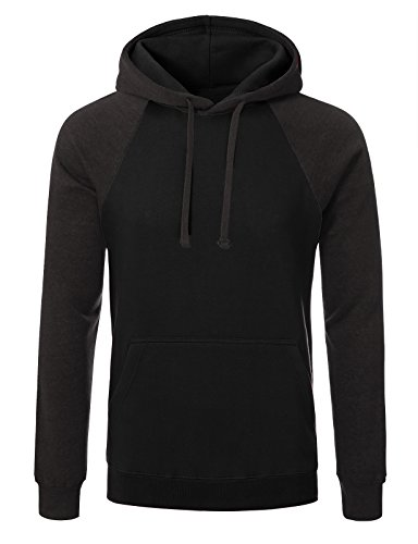 (JD Apparel Mens Hipster Hip Hop Two-tone Pullover Hoodies M black charcoal)