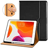 DTTO New iPad 7th Generation Case 10.2 Inch 2019, Premium Leather Business Folio Stand Cover with Built-in Apple Pencil Holder - Auto Wake/Sleep and Multiple Viewing Angles - Black