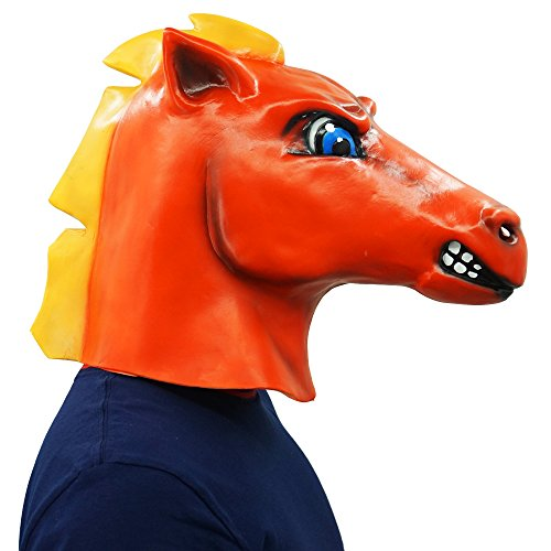 Red Horse Head Mask Animal Party Helmet Cosplay Halloween Props by Lucky Lian (Image #1)
