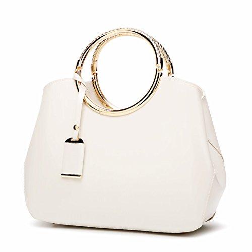- Handbags Patent Leather Satchel Shoulder Bag With Adjustable Shoulder Strap For Women EB04 White