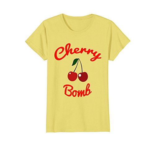 Womens Retro 70s Cherry Bomb Vintage Style Cute T-Shirt Large Lemon (Vintage Cherry)