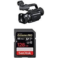 Sony PXWX70 HD422 Hand Held Camcorder with 3.5-Inch LCD (Black) with Extreme Pro 128GB card