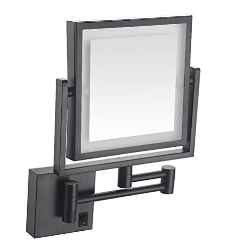 Makeup Mirror Double-Sided LED 3X Magnification 360° Rotating Collapsible Square Mirror Hotel -