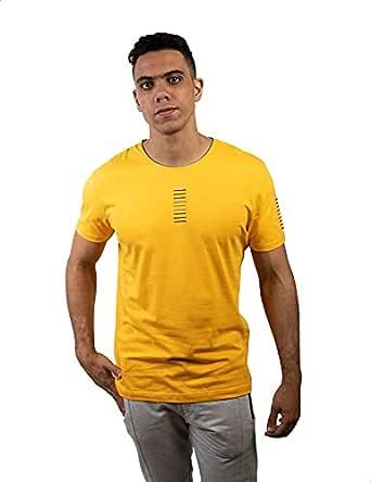 Hero Basic Contrast Neckline EmbroideRed Cotton T-Shirt for Men M