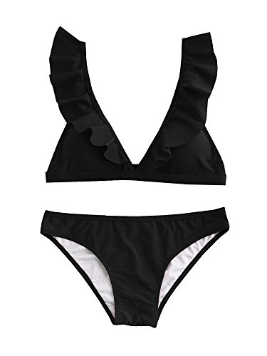GAMISOTE Womens Ruffle Bikini Swimsuits Set Cute Padded Bathing Suits Push up Two Piece (Ruffle Bandeau)