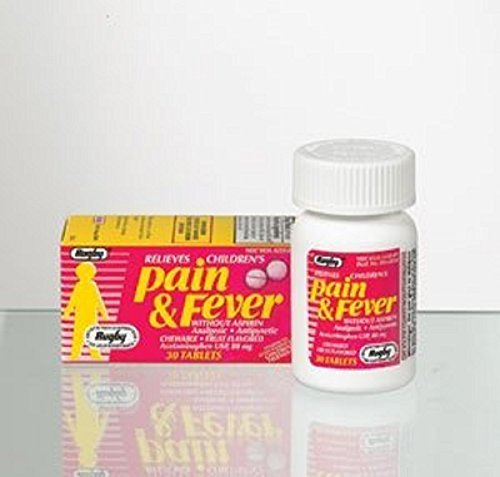 Rugby Pain and Fever Reducer Assorted Fruit Flavor, 80 mg Chewable Tablets, 30 Count per Bottle (1 Bottle) by MAJOR RUGBY LAB