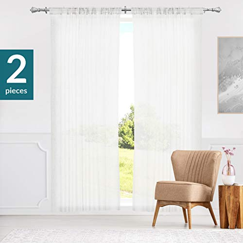 "Curtain Panels, Rod Pocket Top Window Drapes, Adorn White (Sheer) - 52""W X 63""H"