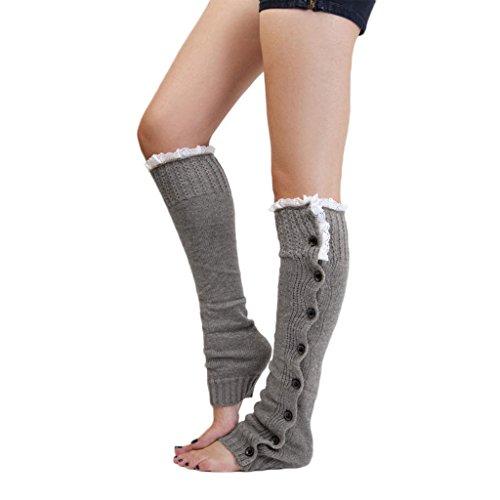 1 Paar Damen Spitzenbesatz Strick Stiefel Abdeckung Socken Beinstulpen Grau