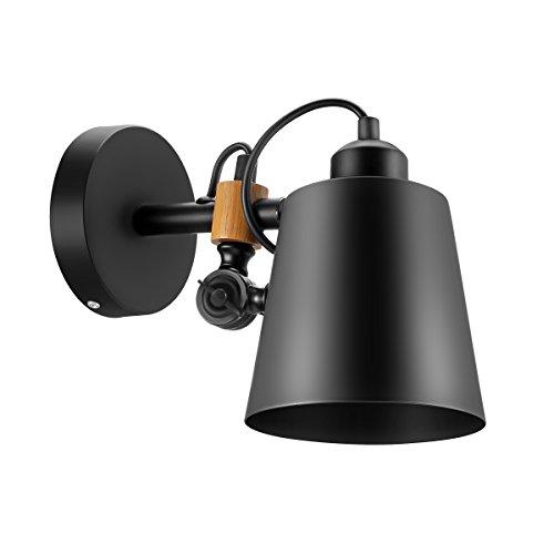 Fine Art Lamps Metal Sconce - LEMONBEST Vintage Retro Loft Antique Wall Lamp Sconce Industrial Edison Simplicity Metal Wall Sconce Lamp Fixture (Black)