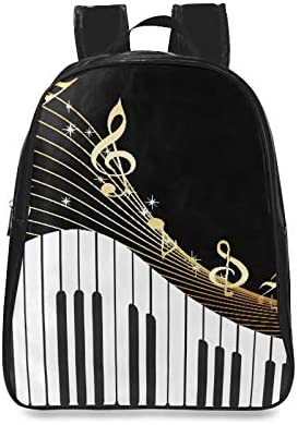 Black Musical Instrument Notes Daypack For Women Colorful Fashion Bag Ladies School Bags Print Zipper Students Unisex Adult Teens Gift