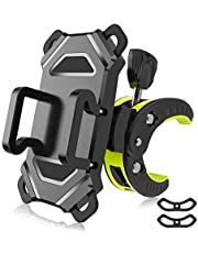 Bike Phone Mount,Bicycle Cell Phone Holder,Universal Motorcycle Handlebar Rack with Rotation Adjustable Anti Shake Silicone Bands Cycling Compatible with All Smart Phone iPhone X,8,7 Plus,Galaxy