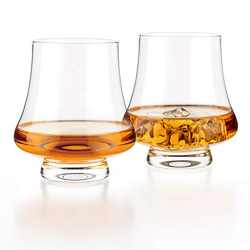 Luxbe – Bourbon Whisky Crystal Glass Snifter, Set of 2 – Wide Tasting Glasses – Handcrafted – Good for Cognac Brandy…