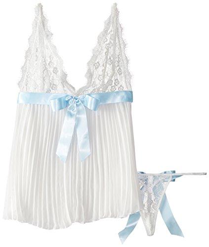 Dreamgirl Women's Plus-Size Flirty Glamourous Bridal Pleated Chiffon Babydoll and Matching Open Back Bow Panty., Pearl, (Plus Size Bridal)