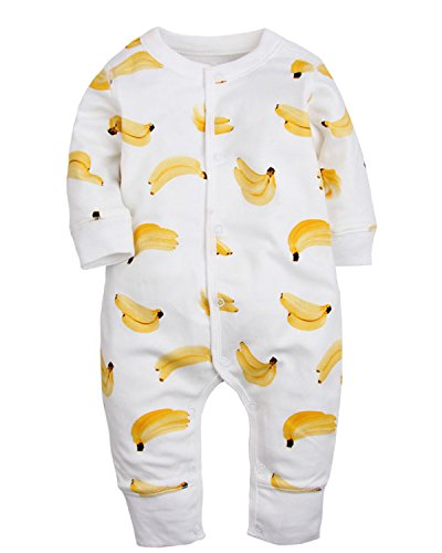 Kidsform Unisex Infant Baby Organic Rompers Footless Coverall Bodysuits Jumpsuit 3-24M banana 3-6M Cartoon Style Snap