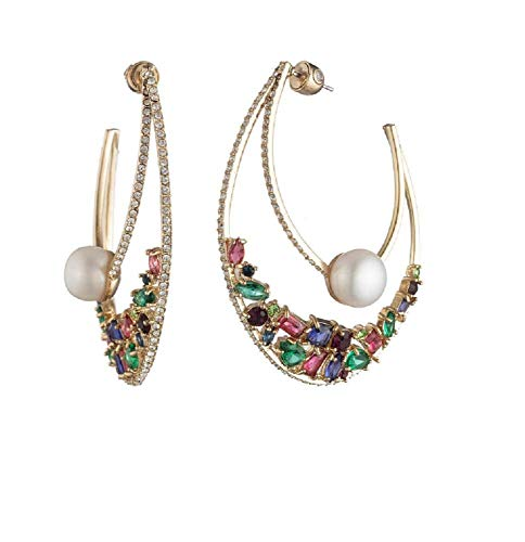 Carolee Women's Dramatic Hoop Earring with Stones and Pearl