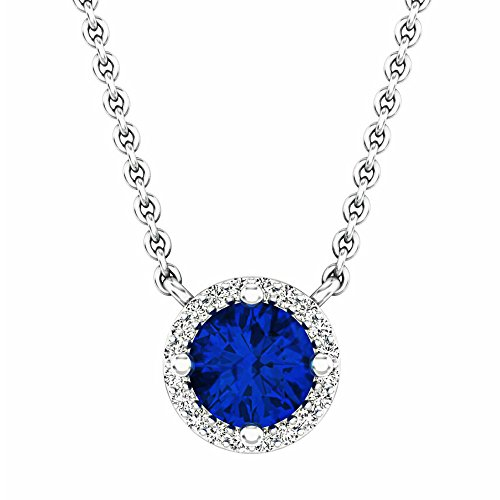 14K White Gold Round Blue Sapphire And White Diamond Ladies Halo Pendant (Silver Chain Included)