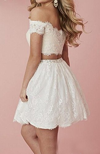 The Dresses Lace Homecoming BD288 Piece Ivory Short Prom Off Two BessDress Shoulder Party wP0q5YS8