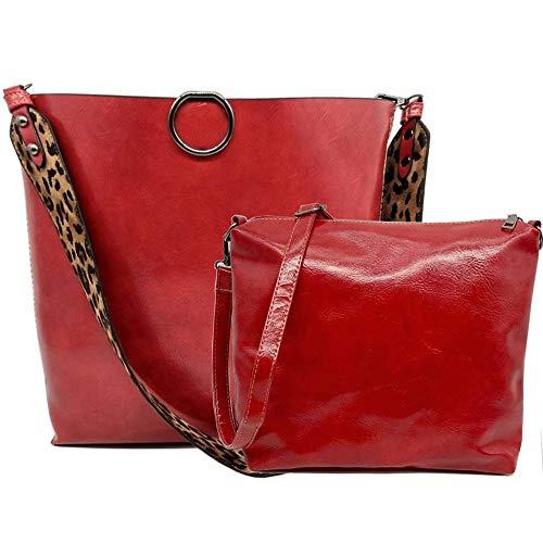 Segater Women Leopard Print Bag Reversible Leather Tote Bag Oversized Top Handle Large Shoulder Handbag Purse 2 Pcs Red