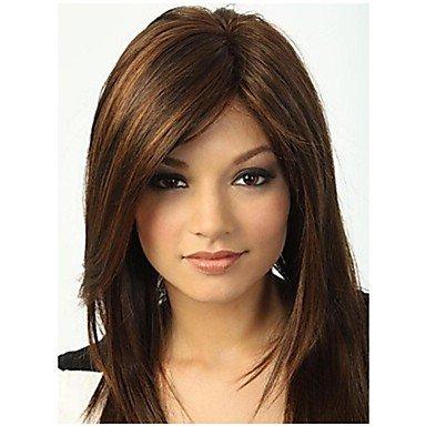 Peluca sintética recta con brazaletes destacados \/Balayage pelo marrón mujer sin capuchón natural pelucas