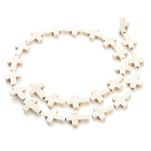 - Linsoir Beads White Turquoise Cross Beads Loose Gemstone Religious Spacer Approx.24pcs/Strand 1.2CMX1.6CM